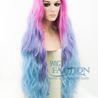 """30"""" Long Curly Megenta Purple Blue Mixed Lace Front Synthetic Wig LF804"""