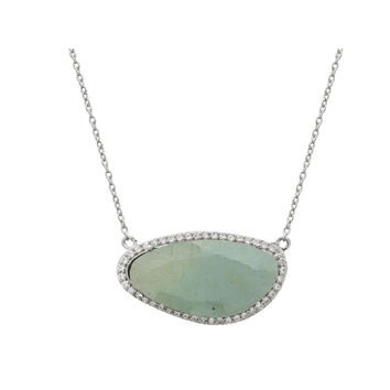 "Fronay Co Platinum Plated Sterling Silver Aquamarine Slice Stone Pendant Necklace, 16"" + Extension"