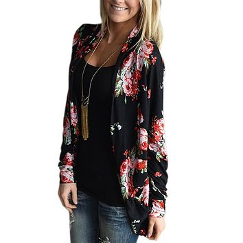 Women Cardigan Autumn Floral Print Long Sleeve Irregular Wrap Kimono Cardigans Casual Coverup Coat Tops Outwear Plus Size S-3XL