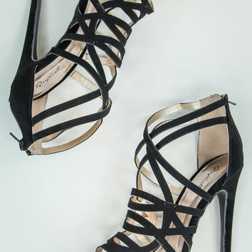 Strappy Caged Heels in Black