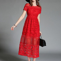 Red Short Sleeve Semi-Sheer Cut Out Lace Maxi Dress
