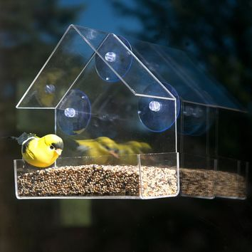 Evelots Clear Acrylic Window Bird Feeder, Strong All Weather Suction Cups