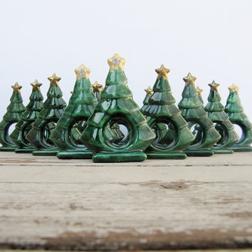 Vintage Christmas Tree Napkin Rings by Modred12 on Etsy