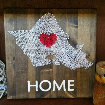 """Oahu """"HOME"""" String Art Sign, Hawaiian Home Decor, Home is Where the Heart is Wood Plaque, Unique House Warming Gift, Made to Order"""