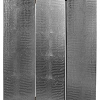 6' Tall Faux Leather Silver Crocodile Room Divider - Contemporary - Screens And Room Dividers - by Oriental Furniture