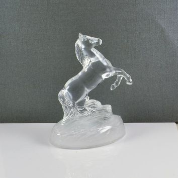 Horse Stallion Figurine Lead Crystal Glass Cristal D'Arques Cheval J G Durand France Cristal