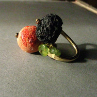 The Sisters Sea and Earth ring coral and lava stone