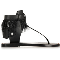 Isabel Marant - Jadyn feather-trimmed leather sandals