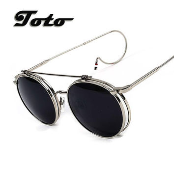 2016 New G-Dragon Vintage Round Flip up Sunglasses Women Men Retro Steampunk mirrored Glasses Points Fashion Brand Shades D246