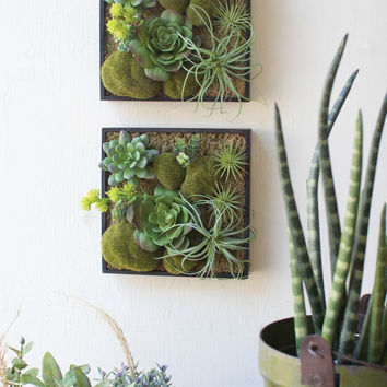 Artificial Succulent Garden with Wooden Boxes