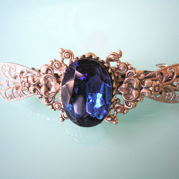 Sapphire Barrette Silver Filigree Hair Clip Blue Rhinestone Edwardian Vintage Art Deco Art Nouveau Wedding Bridal Bridesmaid
