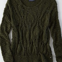 AEO Women's Open Knit Crew Sweater
