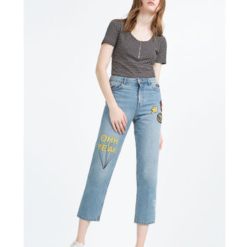 Summer Embroidery Rinsed Denim Pants Jeans [6332322500]