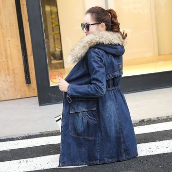Winter Fur Denim Jacket Women Bomber Jacket Long Sleeve Washed Blue Jeans Jacket Coat with Warm Lining Front Button Flap Pockets