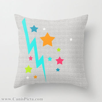 Bright Stars Lightening Bolt Throw Pillow 16x16 Graphic Print Art Cover Decorative Grey Orange Blue Pink Hot Pink Neon Teal Chartreuse White
