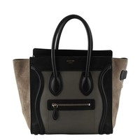 Celine Micro Luggage Black Color Block Leather & Suede Tote