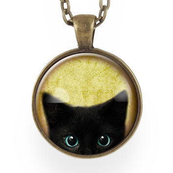 Cute Black Kitty Cat Necklace