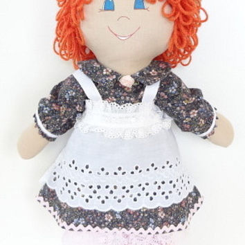 cloth rag doll orange curly hair blue eyes gorgeous smile pinafore two tone pink shoes d101