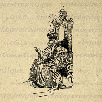 Digital Graphic King on Throne with Dog Download Printable Image Antique Clip Art for Transfers Printing etc HQ 300dpi No.1881