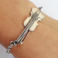 Steampunk Violin Bracelet- Sterling Silver Ox Finish