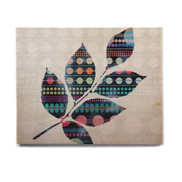 "Angelo Cerantola ""Uplifting"" Gray Black Geometric Floral Illustration Painting Birchwood Wall Art"