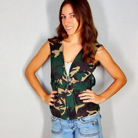 Bad Ass Vitnage Camo Vest, Camouflage Hunting Vest, Fall Grunge Layers, Small, Extra Small