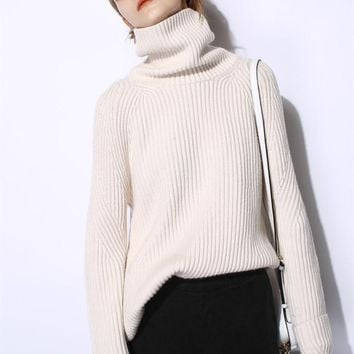 New Product Special Offers Women's 100% Cashmere Turtleneck Ribbed Pullover Solid Color Multi Base pure sweater for women