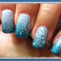 Icy Mornings  Hand Painted false nails set by FabulousNails
