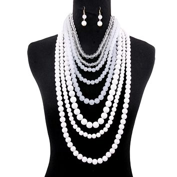 White and Clear Ombre Layered Bead Necklace Set