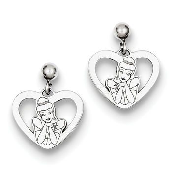 Sterling Silver Disney Cinderella Heart Dangle Post Earrings WD224SS