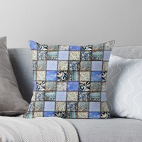 ' Faux Patchwork Quilting - Blues ' Throw Pillow by Gravityx9