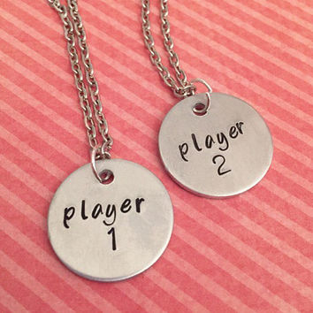 Player 1 and Player 2 Best Friends Necklaces - Video Gamers Jewelry - Best Friends Forever Jewelry - Sister Jewelry - Personalized Jewelry