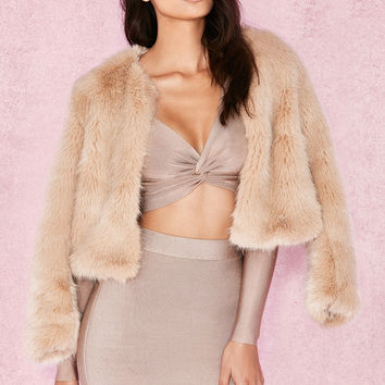 Clothing : Jackets : 'Milania' Champagne Oversized Faux Fur Coat