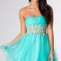 Short Strapless Dress with Lace Detail