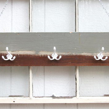 Wall Hat Rack / Baseball Hat Rack / Cowboy Hat Rack / Wooden Hat Rack / Grey Brown Striped Wood Coat Rack / Reclaimed Hat RAck - Antique