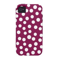 Maroon White Polka Dots Pattern Vibe iPhone 4 Covers from Zazzle.com