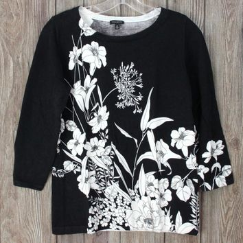 Nice Talbots Black Ivory Floral Sweater M size Womens Lightweight