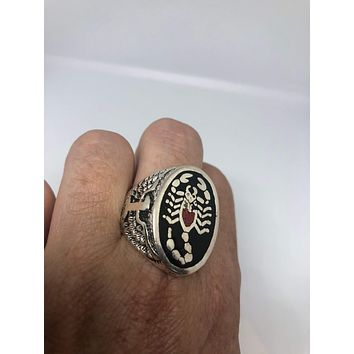 Vintage Native American Style Southwestern Real Stone inlay Mens Scorpion Ring