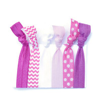 Pink Ombre Hair Ties (6) Hot Pink Polka Dot Hair Bands - Chevron Ponytail Holders - Stretchy FOE Hair Ties - Little Girl Hair Accessories