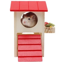 ASL Red Roof Rat House Wooden Hamster Ladder Pet Small Animal Rabbit Mouse Hideout Luxury Home 2 Storey Platform Playhouse Nest