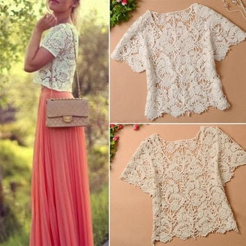 New 2014 Summer Women Blouses Hollow Out Casual Lace Shirts Floral Crochet White Lace Tops SV004447 One size = 1651174020