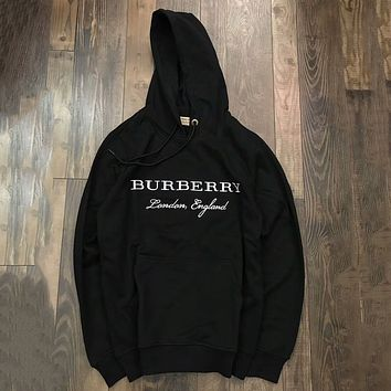 Burberry Woman Men Fashion Embroidery Top Sweater Hoodie
