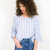 Stripe Bunched Sleeve Blouse