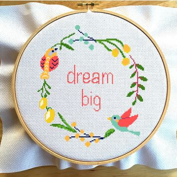Nursery Cross Stitch Kit, Birds Cross Stitch Kit, Dream Big