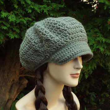 Stone Gray Newsboy Hat - Womens Crochet Cap  - Ladies Hat with Visor Brim - Chunky Hat