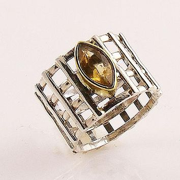 Citrine Sterling Silver Two Tone Lattice Work Ring