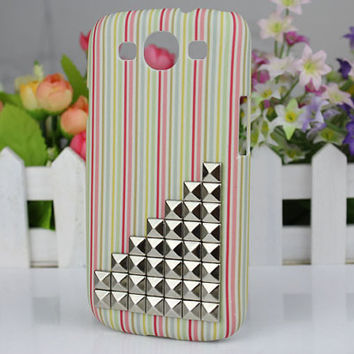 7 Colour Stripe  Hard Shell And Silver Stud for Samsung Galaxy S3 i9300