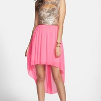Way-In Cutout Sequin Bodice High/Low Dress (Juniors) (Online Only)