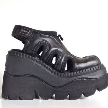 90's HEX by Andrea Sassetti Mega platform Wedge Cyber Cut out Sandals // 7.5