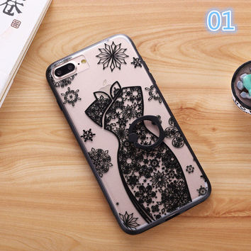 2017 New for iphone 7Case Fashion Sexy Lace Floral Paisley Carved Flower Mandala for iphone 7 Plus Cover Ring Hold Stand -0329